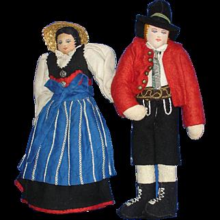 Tagged Cloth Austrian Tirol Dolls European Handcrafted Ethnic