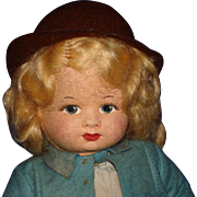 "13"" Chubby Chad Valley Velvet Cloth Girl Doll England 1930s-on"