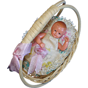 Dollhouse Hard Plastic Baby Doll in Rocking Cradle West Germany