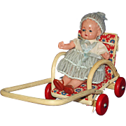 Dollhouse Celluloid Baby Doll in Wicker Stroller US Zone Germany
