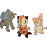 Owl Fox Elephant Mini Pipe Cleaner Wool Plush Animals Vintage