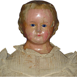 """28"""" Wax Over Composition Glass Eyed Doll on Robinson Type of Body German 1860s-on"""
