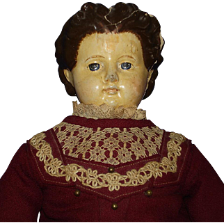 """24"""" Paper Mache Shoulder Head Doll with Wooden Limbs 1880's-on"""