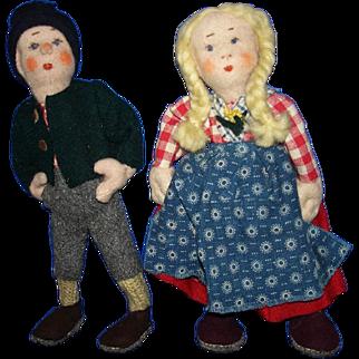 "Vintage Pair of 8"" Ethnic Cloth Dolls from Belgium"