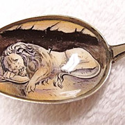 Hand Painted 800 Silver Enamel Lion of  Lucerne Souvenir Spoon