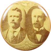 1904 Roosevelt Fairbanks Jugate Sepia Tone Celluloid Political Campaign Pinback Button 1-1/4""