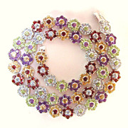 Multi Gemstone Set Necklace & Bracelet