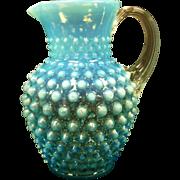 """SOLD Fenton 6"""" Blue Opalescent Milk/Cream Pitcher"""