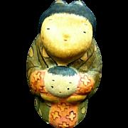 Asian Folk Art Paper Mache Woman & Child Figurine