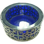 Sterling Silver Open Salt With Cobalt Blue Glass Liner