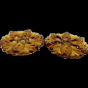 Vintage Pair Curtain Tie Backs Amber Glass Flower