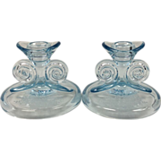 June Grecian Scroll Light Blue Candlesticks By Fostoria