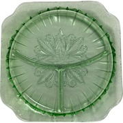 Depression Glass Adam Grill Plate In Green By Jeannette