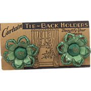 Vintage Green & Gold Flower Shaped Curtain Tie Backs