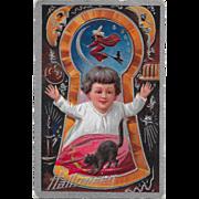 Vintage Halloween Postcard Keyhole Series Silver Embossed By Nash