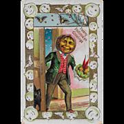 SOLD Vintage Halloween Postcard - Hearty Hallowe'en Greetings - JOL