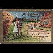 Vintage Halloween Postcard - All Hallowe'en Greetings - Villagers - 1910