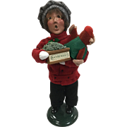 Christmas - Byers Choice The Carolers - Traditional Shopper Boy With Bayberries And Toy Monkey