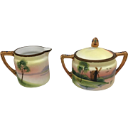 Nippon Creamer & Covered Sugar With Hand Painted Windmill Scene