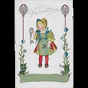 Vintage Halloween Postcard Hearts Lock & Girl Signed Ethel H DeWees