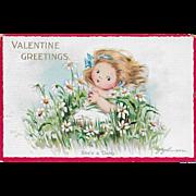 Vintage Valentine's Day Postcard She's A Daisy By J. Johnson