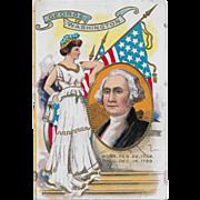 Vintage Patriotic George Washington & Lady Liberty Postcard Dated 1909