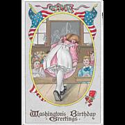 Vintage Patriotic Postcard Washington's Birthday Greetings Girl In School