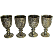 Vintage Ornate Pewter and Silver Plate Accents Glasses Goblets Cordials Stemware. Set of 4