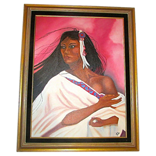 SALE Native American Oil On Canvas Portrait Painting. Framed. Artist Signed