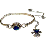 SALE Sterling Silver Azurite Taxco Mexican Sterling Silver Bangle Bracelet and Necklace