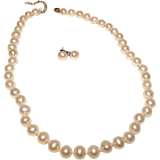 Vintage 10 mm Cultured Pearl Sterling Silver 925 Necklace and Earrings Set
