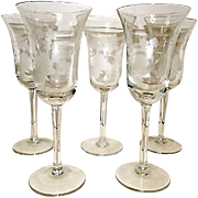 Vintage Finely Etched Footed Wine Glasses Goblets Cordials Stemware with Floral and Butterfly Design. Set of 5