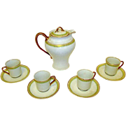 Antique Syracuse China OP CO Chocolate Pot 4 Cups and Saucers Set. Early 1900s.