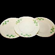 BELLEEK Shamrock Salad Plates Ireland 3RD Green Mark 1965-80. Set of 3