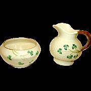 BELLEEK Shamrock Open Sugar & Creamer Set Luster 3rd Green Mark (1965-80)