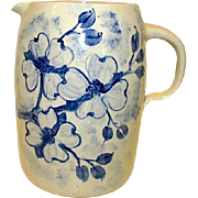 CASEY POTTERY Hand Turned Large Water Jug Pitcher Cobalt Blue on White Stoneware Collectible Marshall Texas