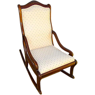 Antique Victorian Upholstered Walnut Parlor Rocking Chair Rocker