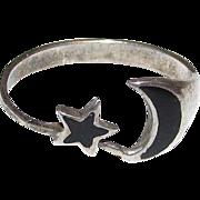 Sterling Silver Moon Star Black Enamel Ring Size 7.5