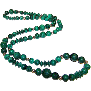 Vintage Malachite Beaded Necklace