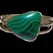 Art Deco Vintage Sterling Silver Malachite Heavy Cuff Bracelet
