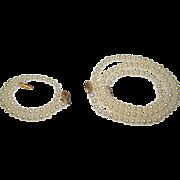 SALE!!! Cultured 4-5 mm Pearl 14K Gold Filigree Clasp Necklace and Bracelet Set
