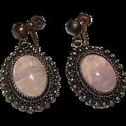 Vintage Pink Rose Quartz Gold Over Sterling Silver 925 Vermeil Dangle Statement Earrings Screw