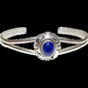 Vintage Navajo Native American Sterling Blue Lapis Lazuli Cuff Bracelet
