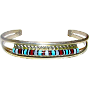 Native American Zuni Sterling Silver Turquoise Coral MOP Jet Inlay Cuff Bracelet