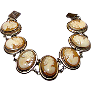 Victorian 800 Silver Cameo Carved Shell Bracelet