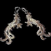 Vintage Art Nouveau Sterling Silver Bird of Paradise Pierced Dangle Statement Earrings
