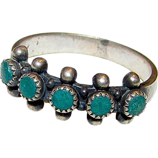Native American Old Pawn Zuni Sterling Silver Turquoise Band Ring Size 8.5