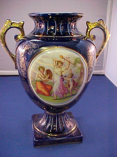 "Cobalt Blue Hand Painted English Porcelain Vase, signed ""Hausmann"" C. 1890"