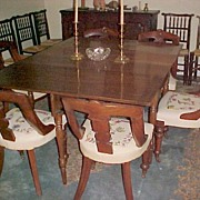 Empire Period Dining Chairst (6) Connecticut Crewel seats C. 1820-30