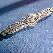 Antique Victorian Sterling Bar Pin 19th Century Faceted Gemstones Filigree Setting